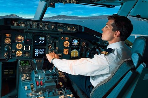 Pilot holding the lever while taking off