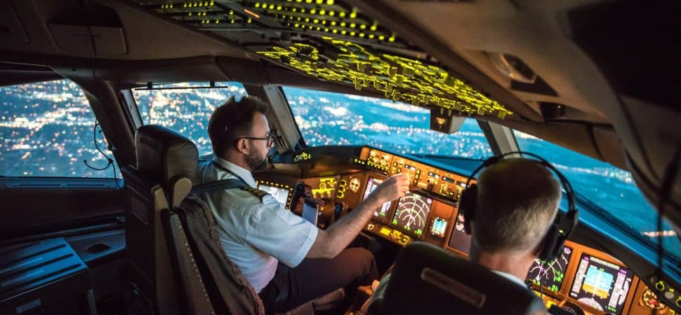 Two pilots flying the plane